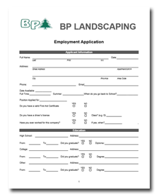 BP Landscaping Employment Opportunities